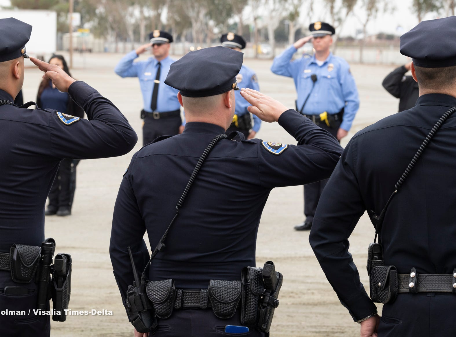 """The public joined law enforcement in support of Tulare Police K-9 """"Bane"""" during a memorial for the dog on Wednesday, January 9, 2019. Bane was killed during an officer-involved shooting on December 9 of last year."""