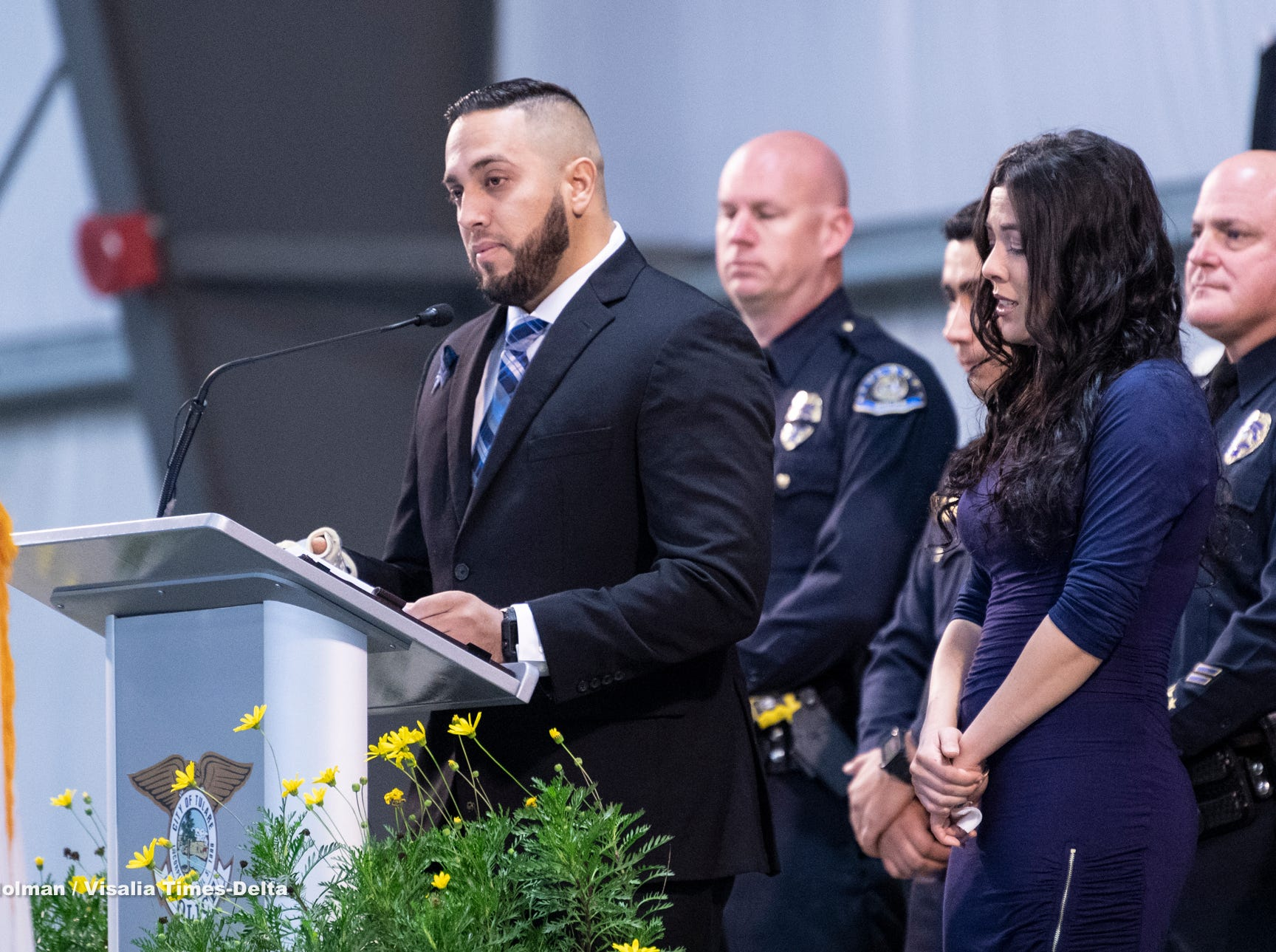 Officer Ryan Garcia speaks about his brief time with his K-9 partner Bane during a memorial for the dog on Wednesday, January 9, 2019. Bane was killed during an officer-involved shooting on December 9 of last year and is credited with saving Garcia's life.