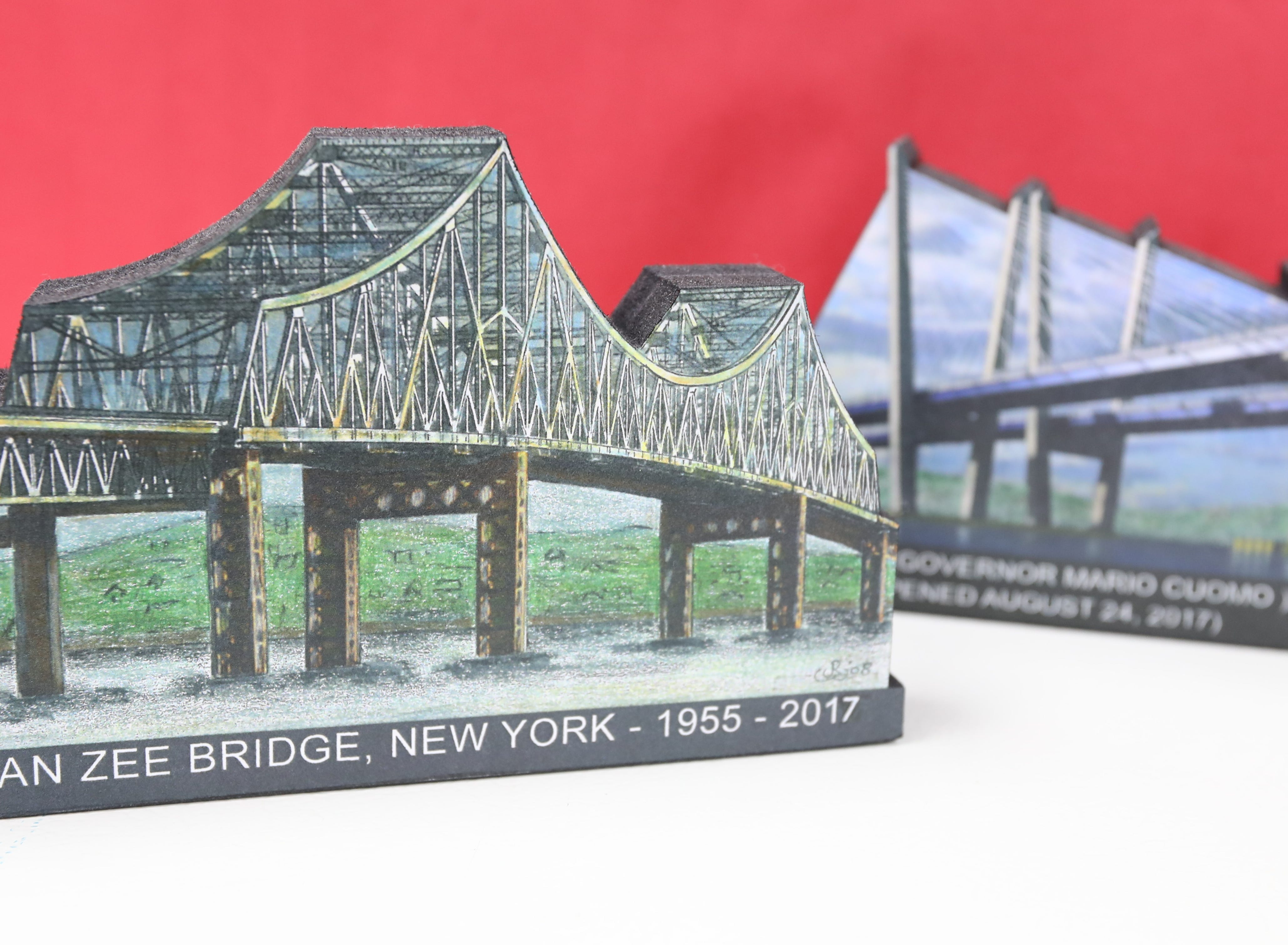 Woodblock miniatures of the Tappan Zee and Gov. Mario Cuomo bridges by John Rossi at Koblin's Pharmacy in Nyack Jan. 9, 2019.