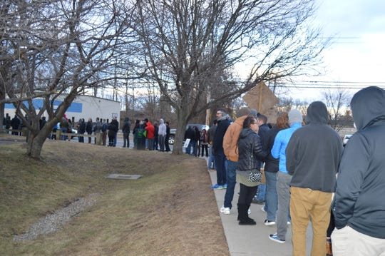 There was a three-hour wait at the NETA marijuana dispensary in Northampton on Dec. 29.
