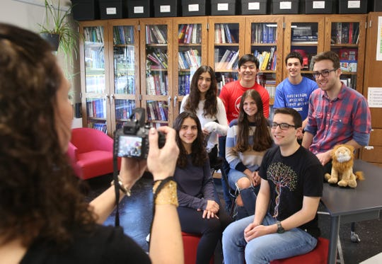 From left, Byram Hills High School students Samantha Abbruzzese, Alessandra Colella, Alan Chang, Rachel Chernoff, Ethan Jacobs, Brent Perlman, and Jonah Schwam, pose for a photo at Byram Hills High School in Armonk Jan. 9, 2019. They were all chosen as semifinalist in the Regeneron Science Talent Search Jan. 9, 2019.