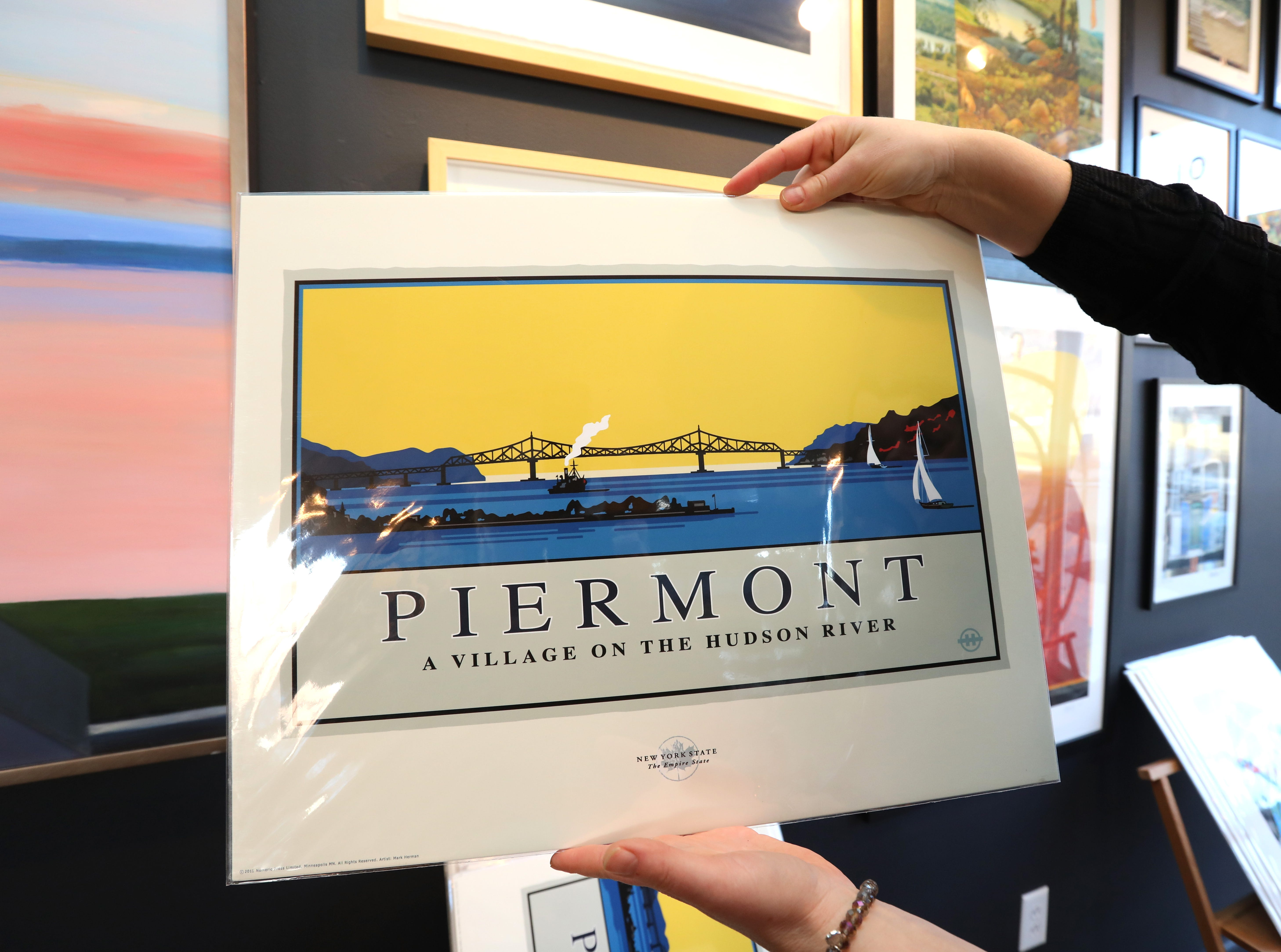 Poster of the Tappan Zee Bridge by Mark Herman at Piermont Straus in Piermont Jan. 9, 2019.