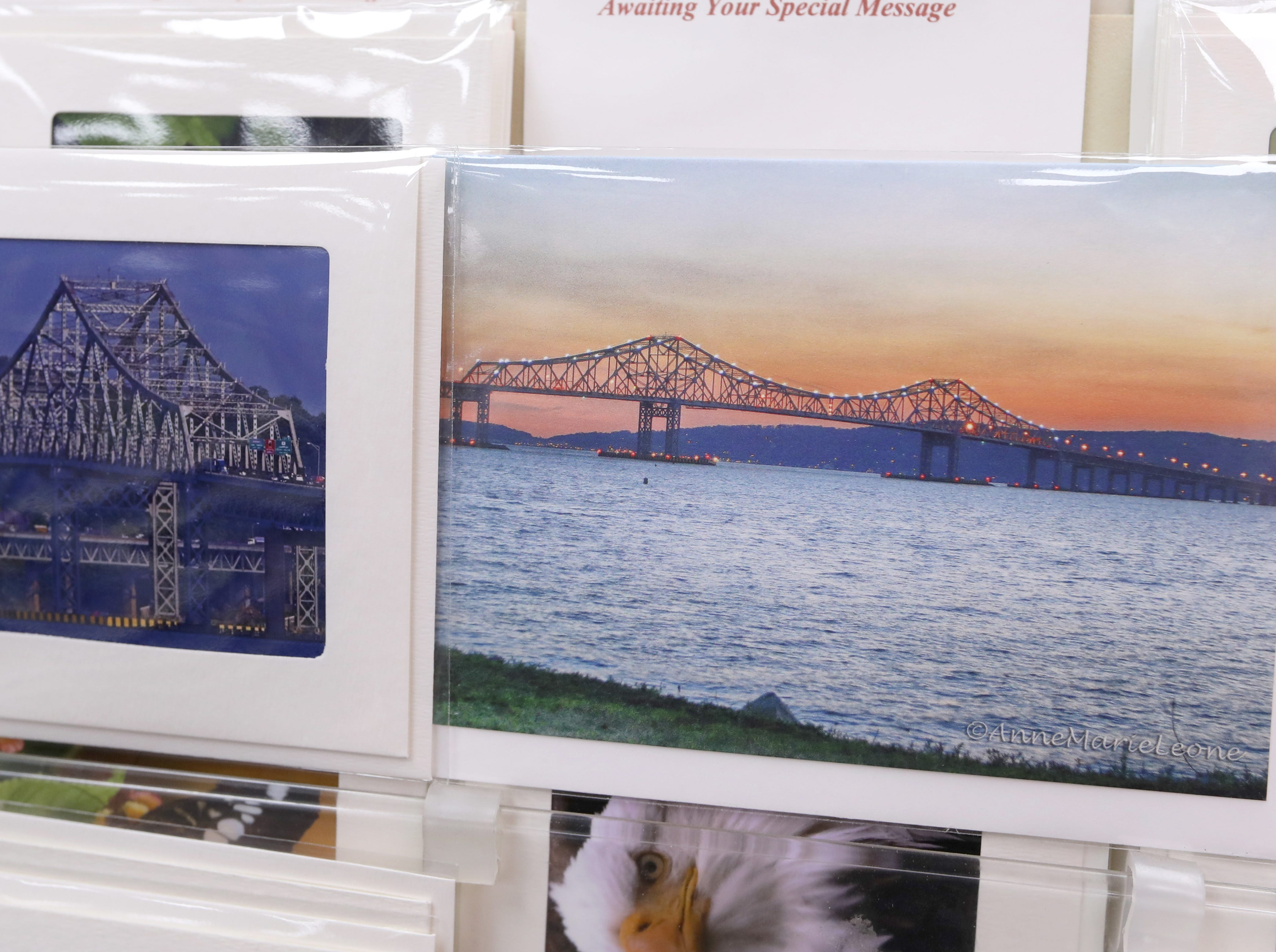 Greeting cards with photos of the Tappan Zee Bridge by Moelyn Photos, left, and Anne Marie Leone at Koblin's Pharmacy in Nyack Jan. 9, 2019.