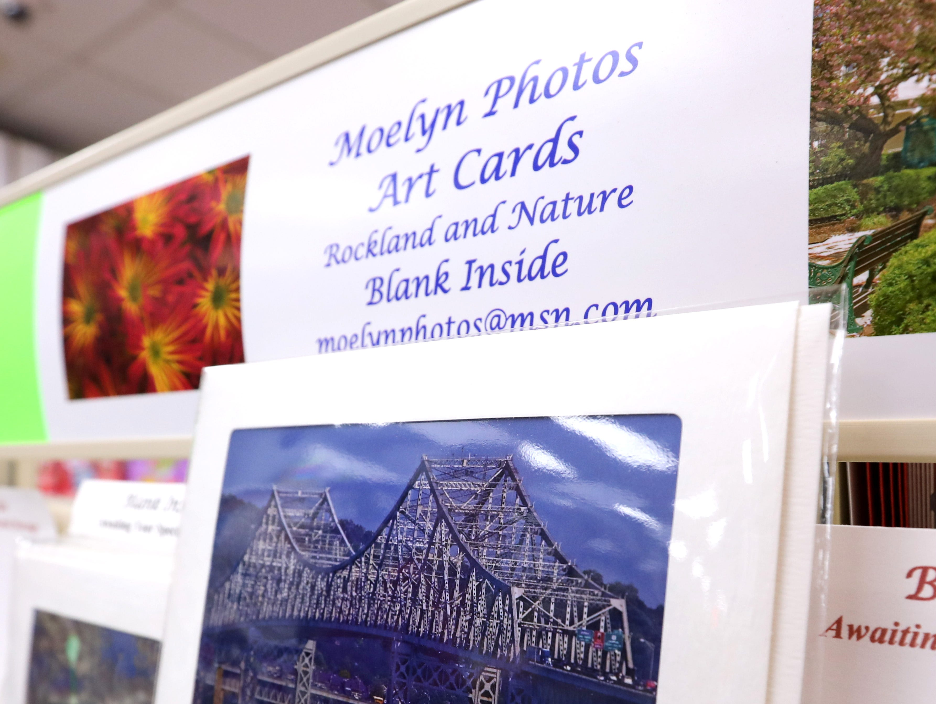 Greeting card with photo of the Tappan Zee Bridge by Moelyn Photos at Koblin's Pharmacy in Nyack Jan. 9, 2019.