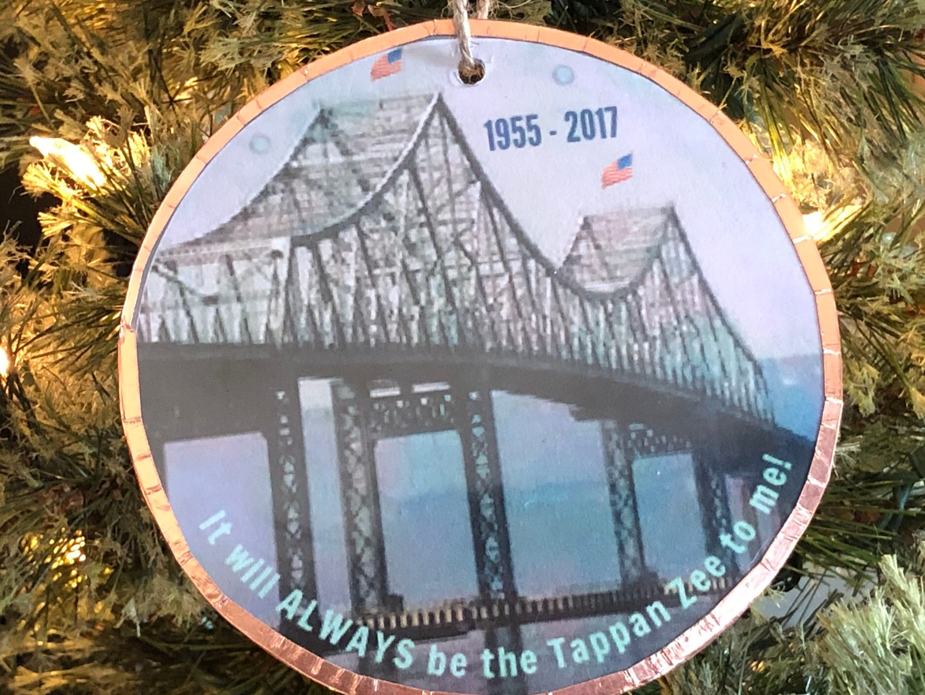 Barbara Beckman's ornament pays tribute to the Tappan Zee Bridge.