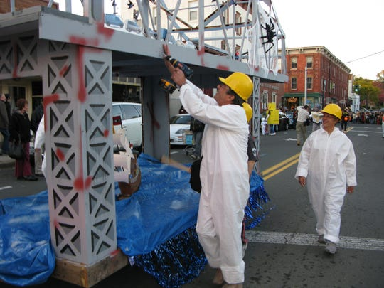 The old Tappan Zee Bridge was long a topic of floats and costumes in Nyack's famous Halloween parade. This one, in 2008, was by the Nyack Boat Club.
