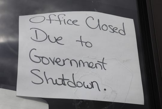A hand written note telling people the Internal Revenue Service office at 242 West Nyack Rd. in West Nyack is closed during the government shurdown. Wednesday, January 9, 2019.