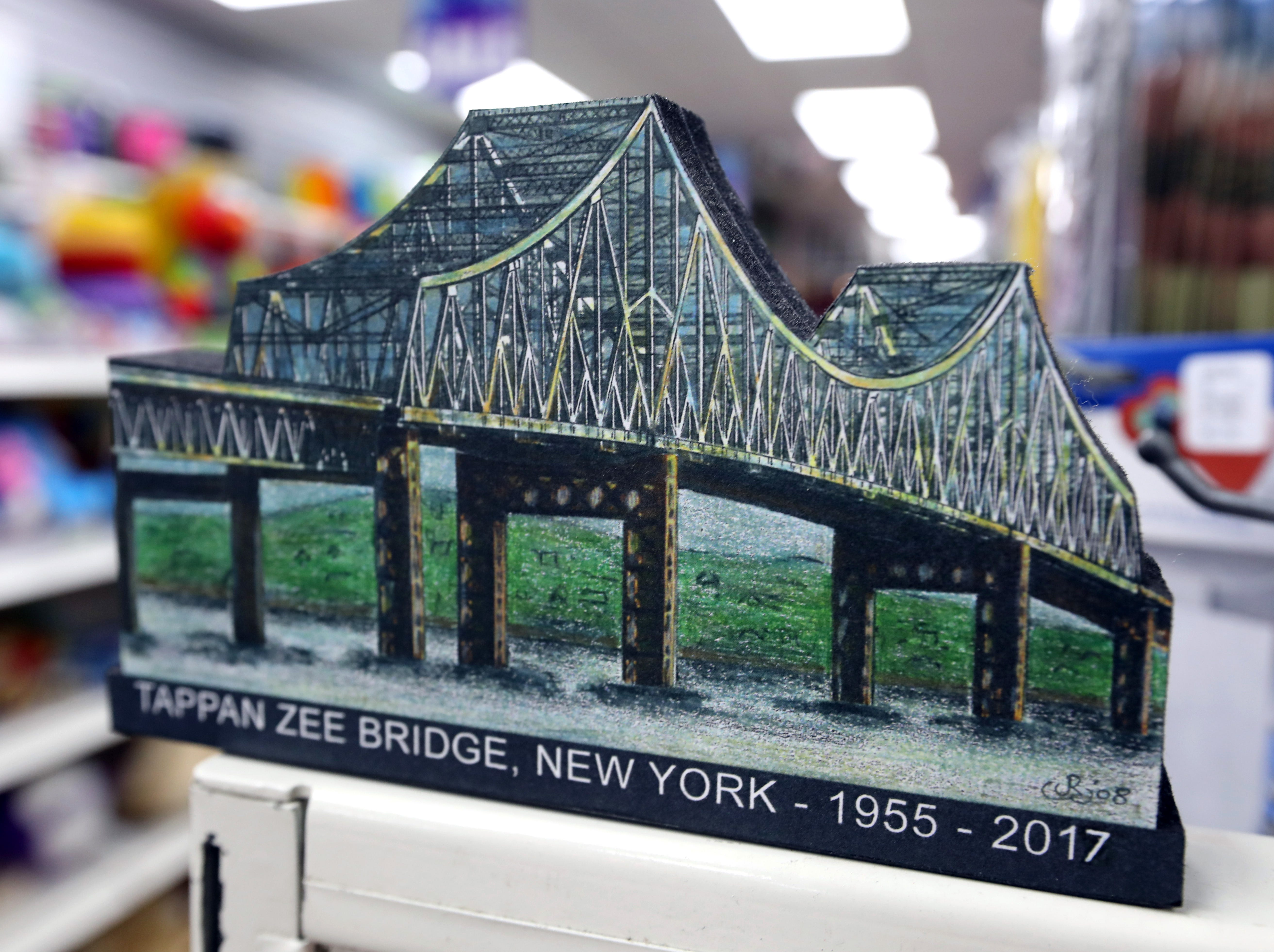 A woodblock miniature of the Tappan Zee Bridge by John Rossi at Koblin's Pharmacy in Nyack Jan. 9, 2019.