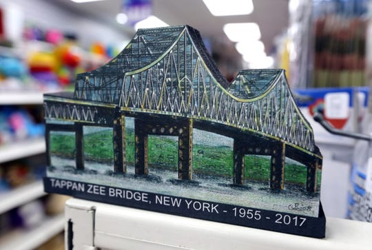 A woodblock miniature of the Tappan Zee Bridge by John Rossi at Koblin's Pharmacy in Nyack Jan. 9, 2019.