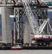 Preparations are made Jan. 9, 2019, at the Tappan Zee Bridge for its upcoming demolition using explosives.