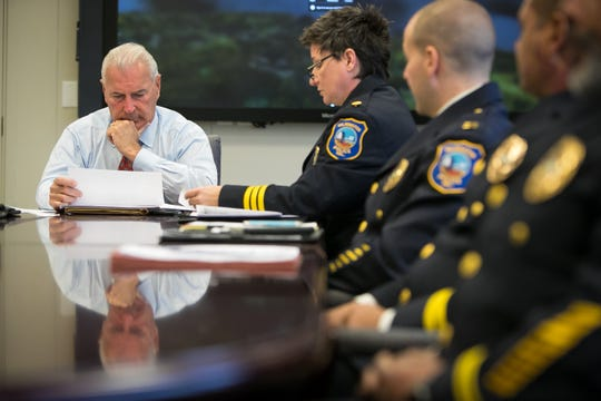 Mayor Mike Purzycki meets with Wilmington Police Department officials in their bi-weekly meeting.