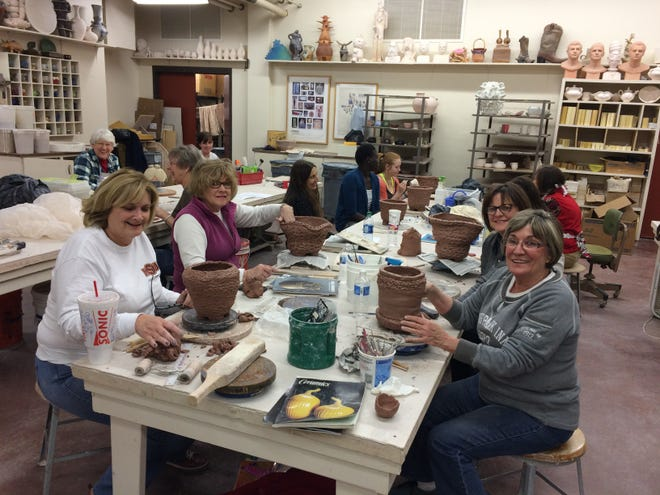 Students in an MSU Continuing Education class learn wheel throwing and sculptural ceramics. A Tuesday night class starts Jan. 15 from 6 to 9 p.m.  in MSU's Juanita and Ralph Harvey School of Visual Art, Room, ceramics studio, C119. Call (940) 397-4307 for class information and cost.
