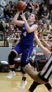 Windthorst's Claire Hemmi puts in a layup against Seymour Tuesday, Jan.8, 2019, in Seymour.