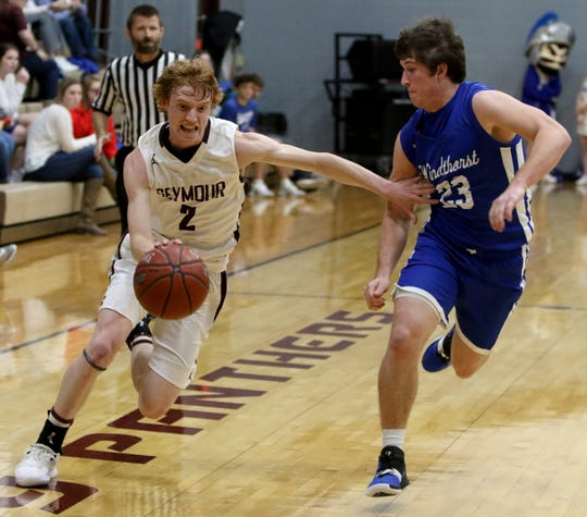 Seymour's Nick Slaggle dribbles by Windthorst's Nathan Bales Tuesday, Jan. 8, 2019, in Seymour.