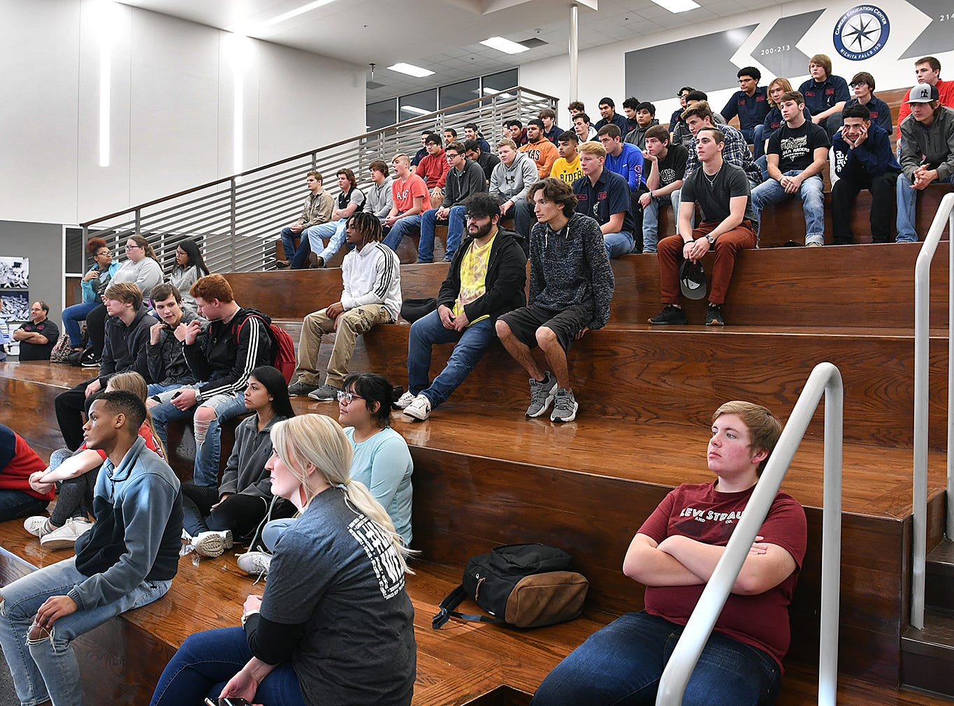 Career Education Center students from Welding, Automotive Technology, Marketing and Auto Body listen to a presentation Wednesday from Red River Harley Davidson.