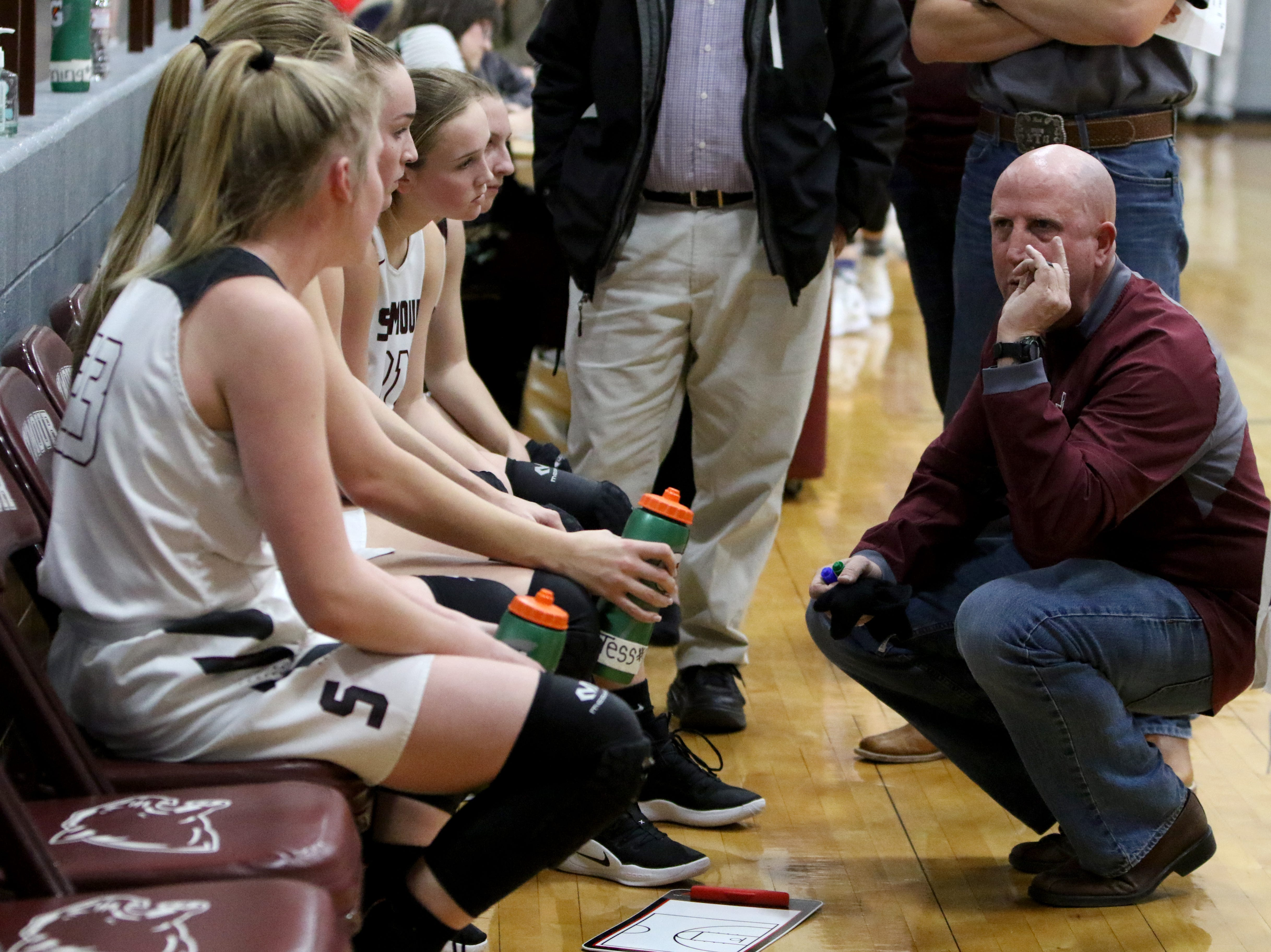 Seymour head basketball coach Doug Hunt talks to his players between quarters in the game against Windthorst Tuesday, Jan.8, 2019, in Seymour.