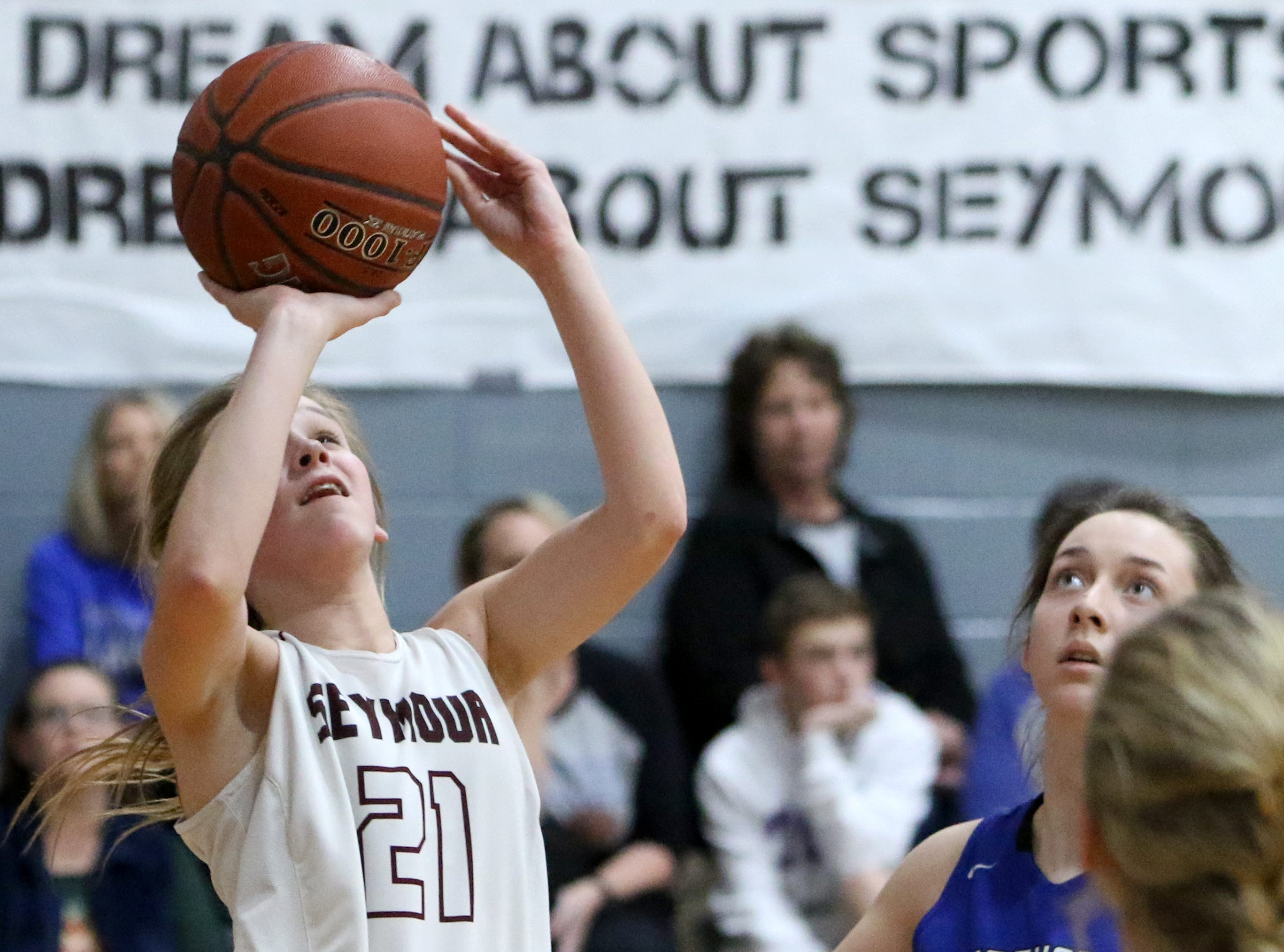 Seymour's Kennedy Stroebel shoots in the game against Windthorst Tuesday, Jan.8, 2019, in Seymour.