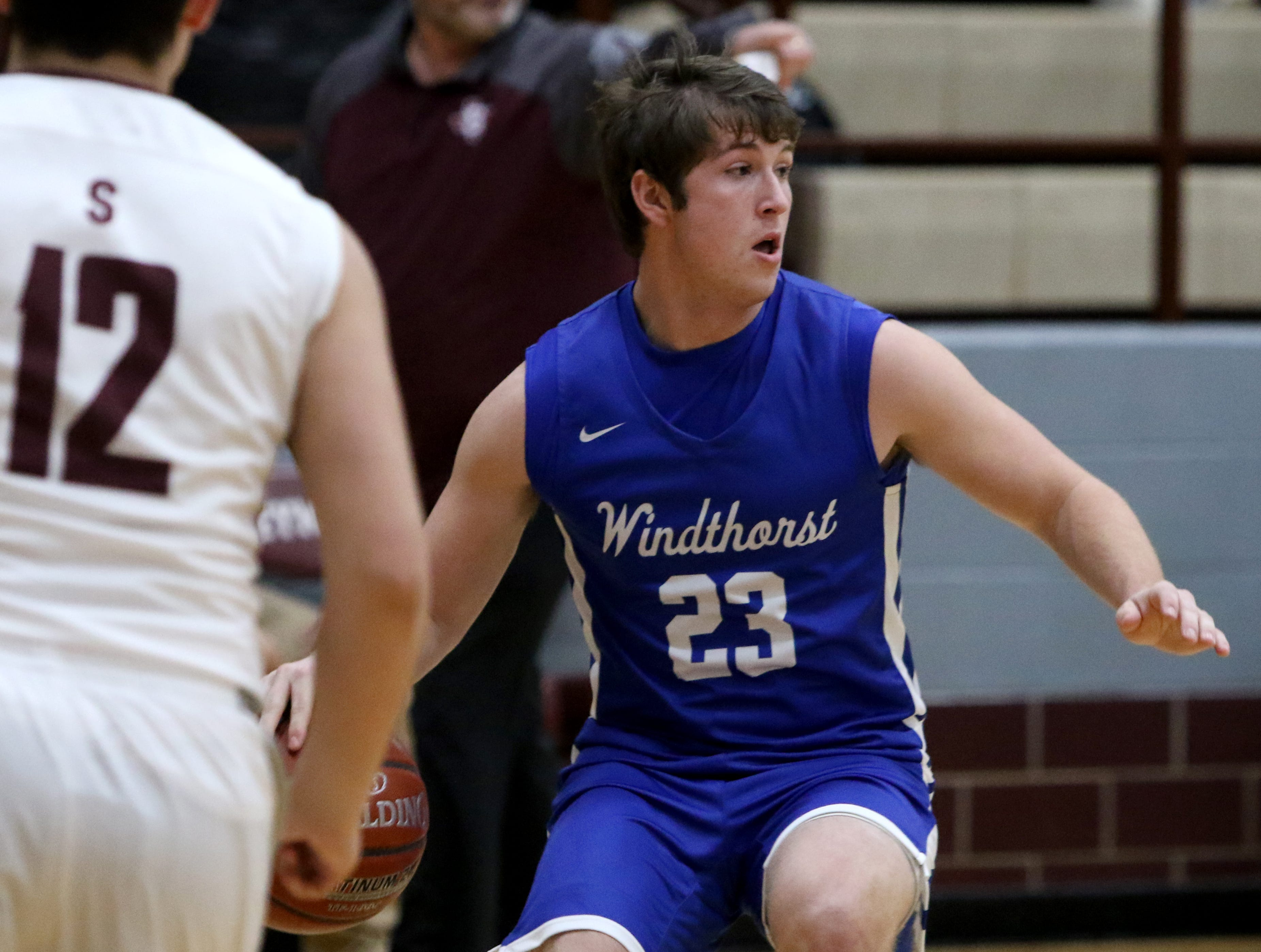 Windthorst's Nathan Bales dribbles in the game against Seymour Tuesday, Jan. 8, 2019, in Seymour.