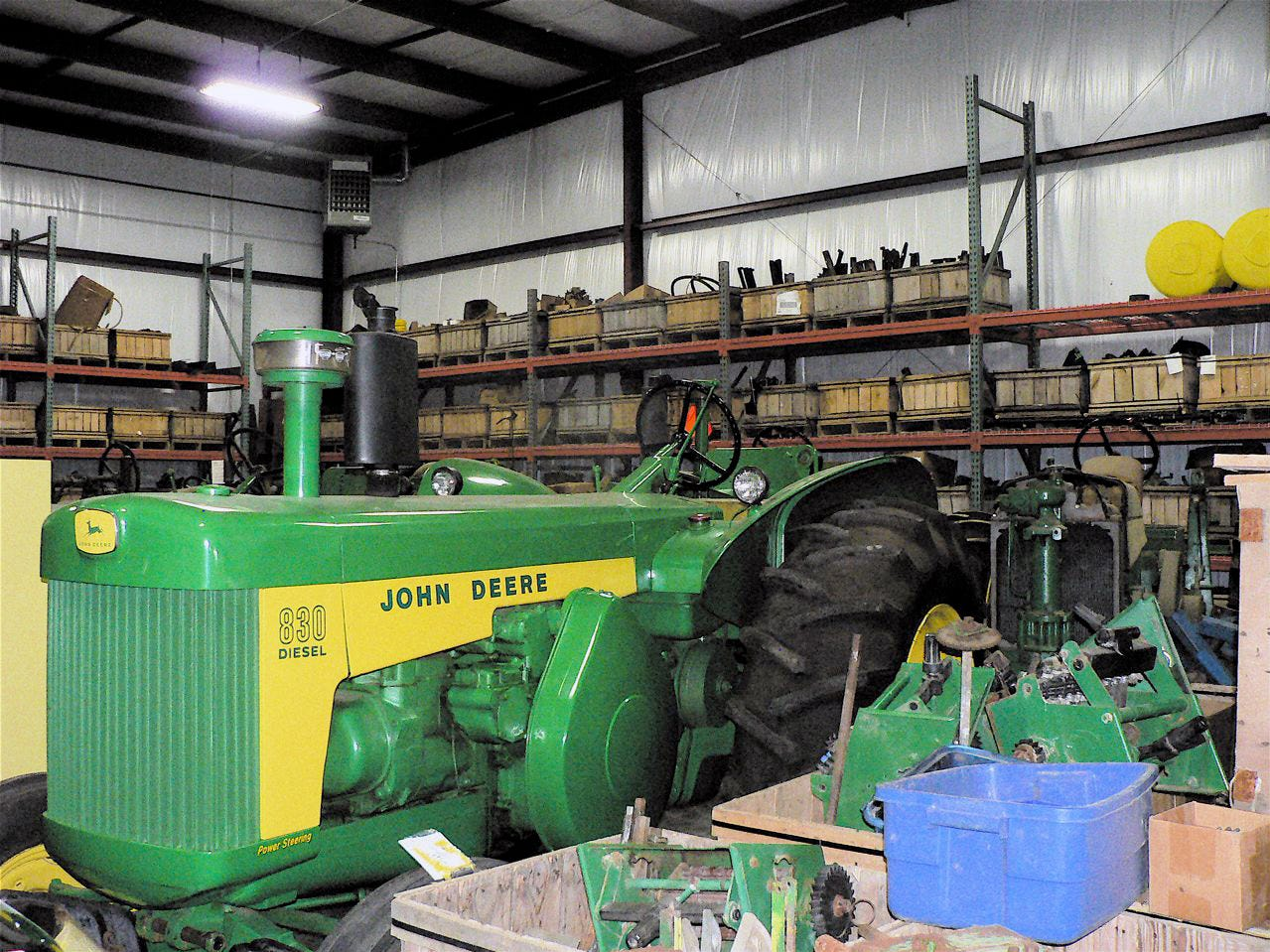 One of the dozen older John Deere tractors being stored for later display at shows.