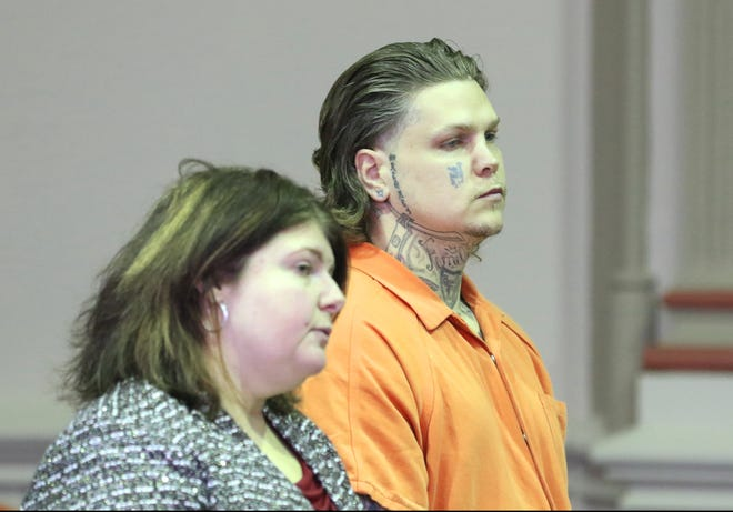 John Curtis Hampton plead guilty to aggravated riot during a hearing in Muskingum County Common Pleas Court on Wednesday. Hampton took part in a group beating in Muskingum County Jail last year.