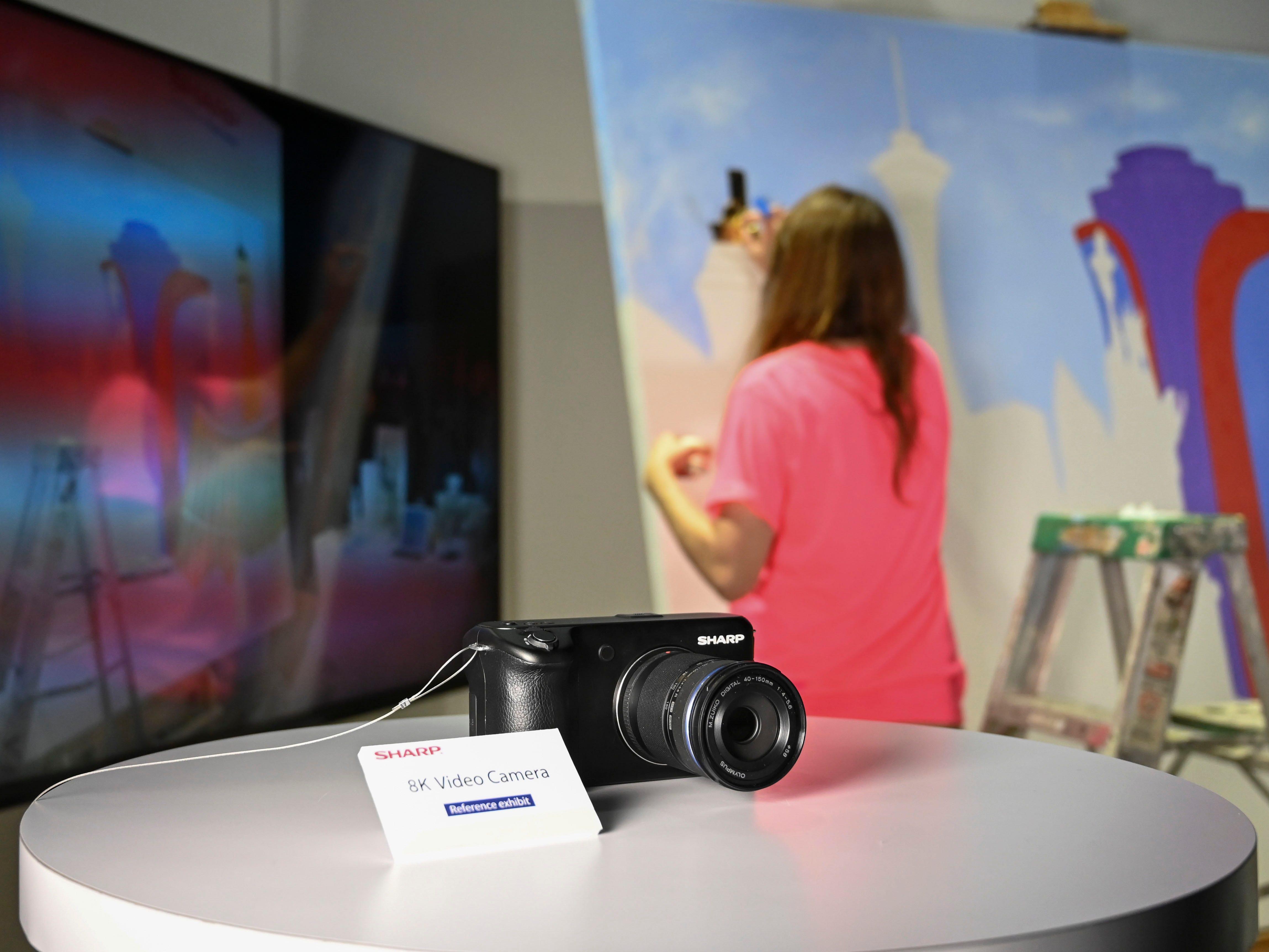 Sharp shows off 8K video cameras.