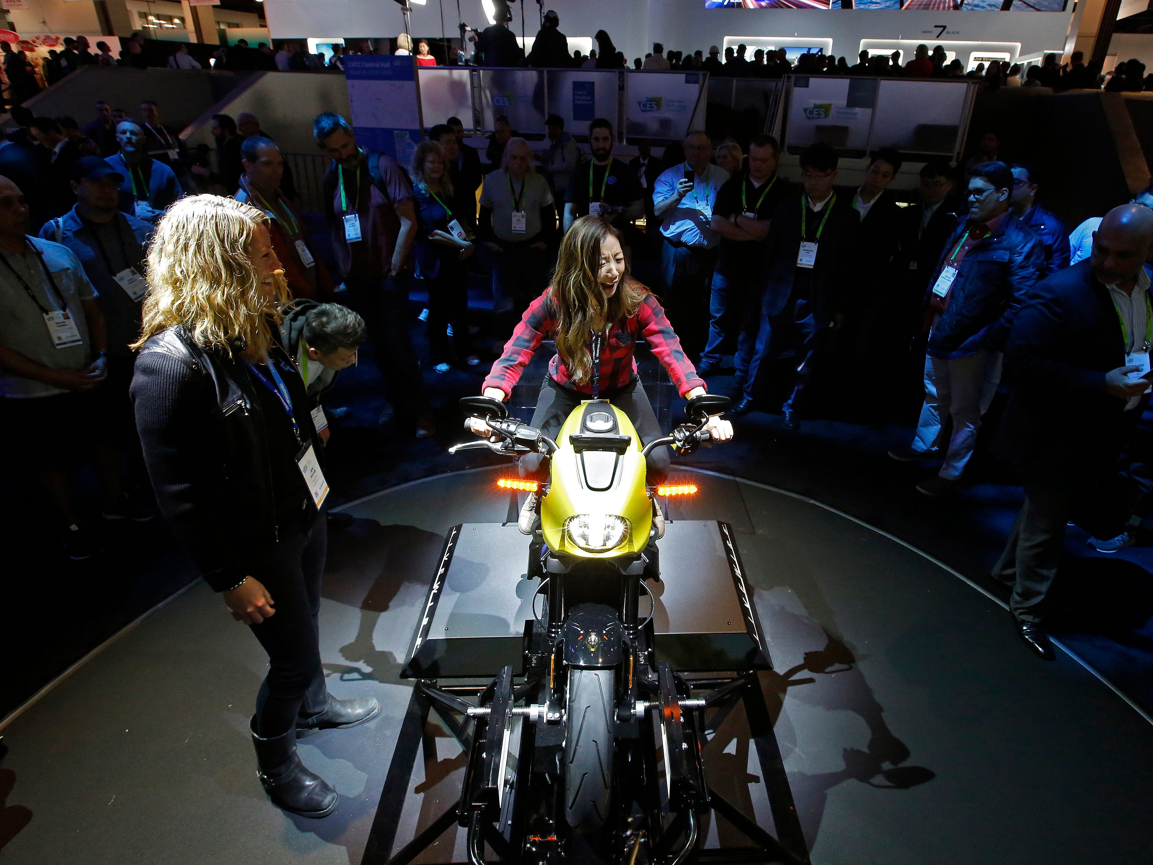 People view the new all-electric Harley Davidson.