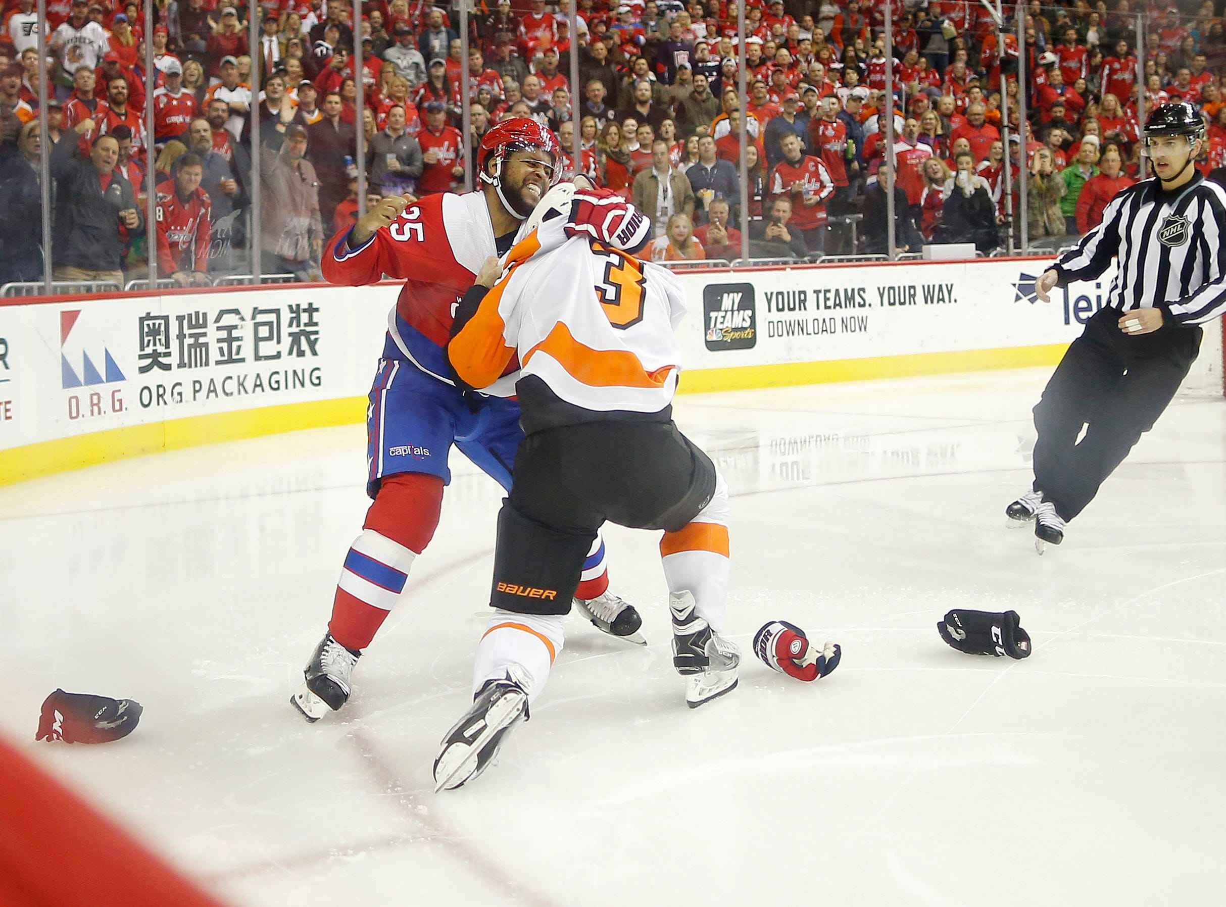 Jan. 8: Washington Capitals' Devante Smith-Pelly vs. Philadelphia Flyers' Radko Gudas.