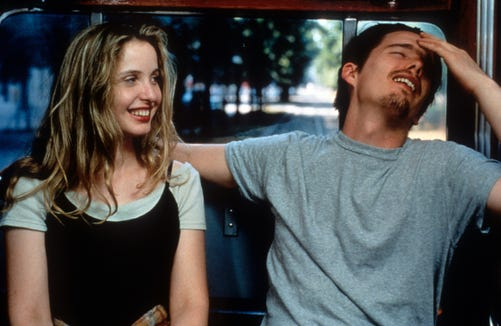 "Celine (Julie Delpy) and Jesse (Ethan Hawke) enjoy each other's company in a scene from ""Before Sunrise."""