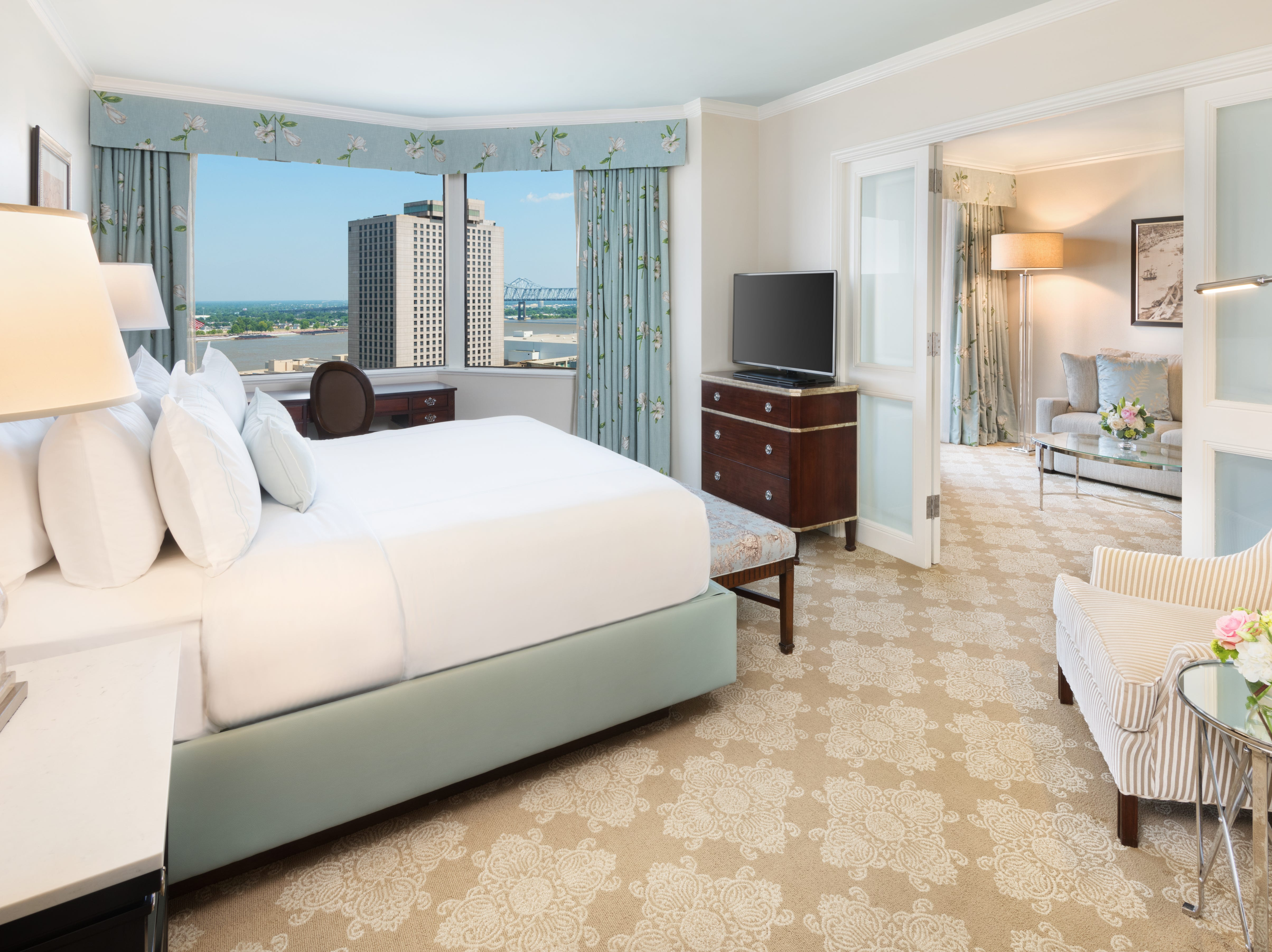 This is one of the renovated suites at the Windsor Court Hotel in New Orleans.
