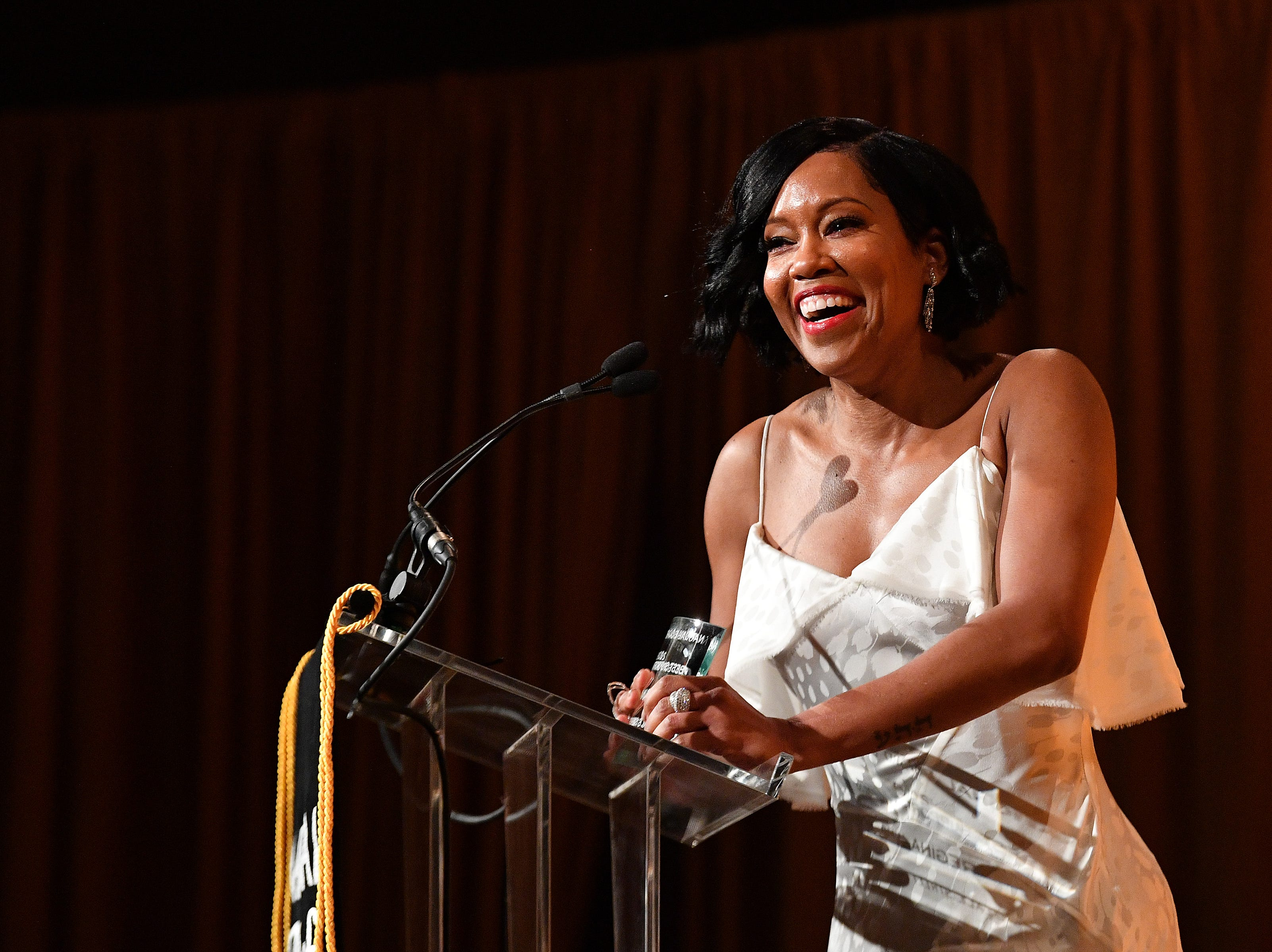 NEW YORK, NY - JANUARY 08:  Regina King accepts the Best Supporting Actress award for If Beale Street Could Talk onstage during The National Board of Review Annual Awards Gala at Cipriani 42nd Street on January 8, 2019 in New York City.  (Photo by Dia Dipasupil/Getty Images for National Board of Review) ORG XMIT: 775277327 ORIG FILE ID: 1079457000