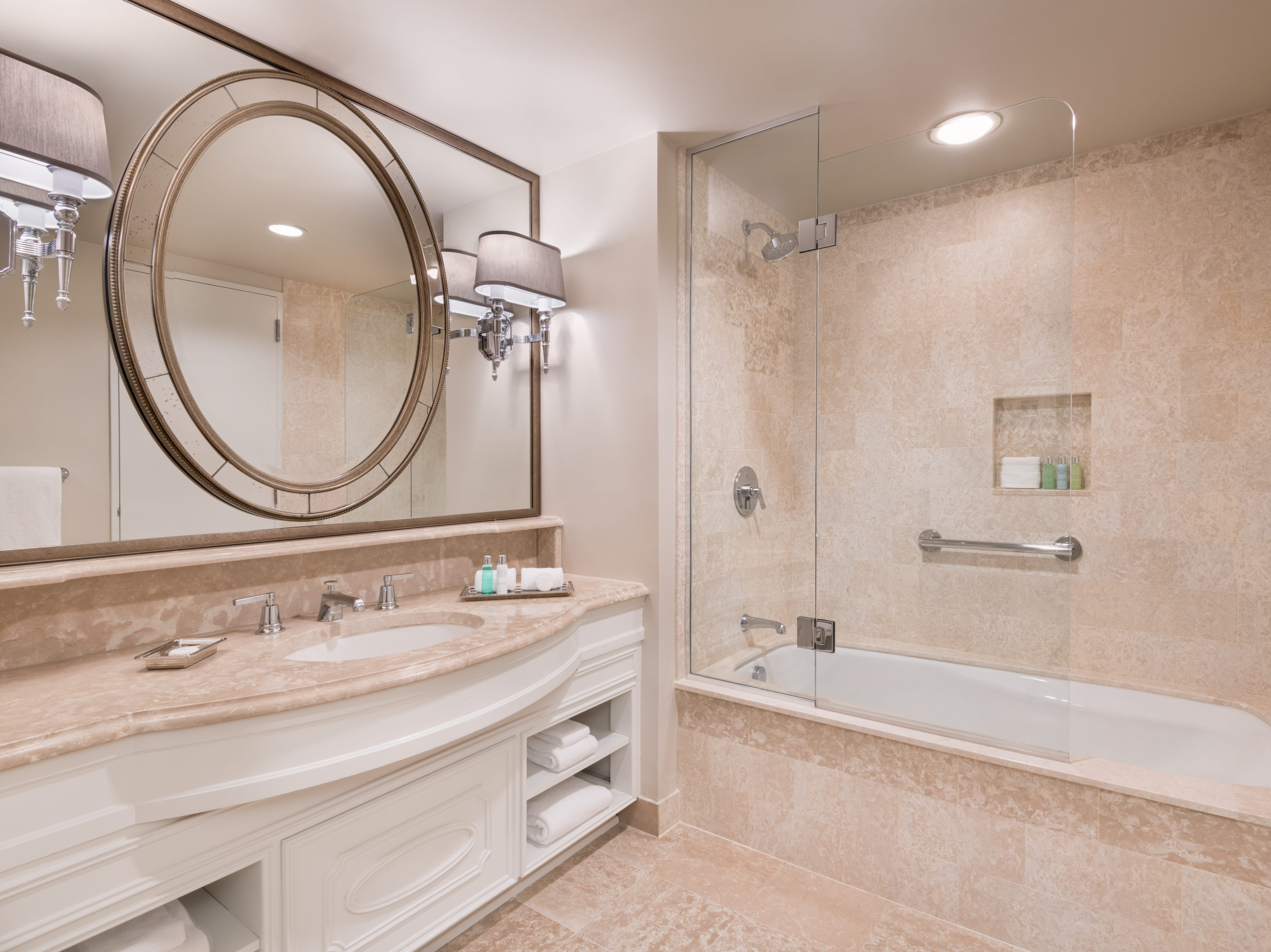 Rooms at the renovated Windsor Court Hotel in New Orleans have new bathrooms, some with bathtubs.