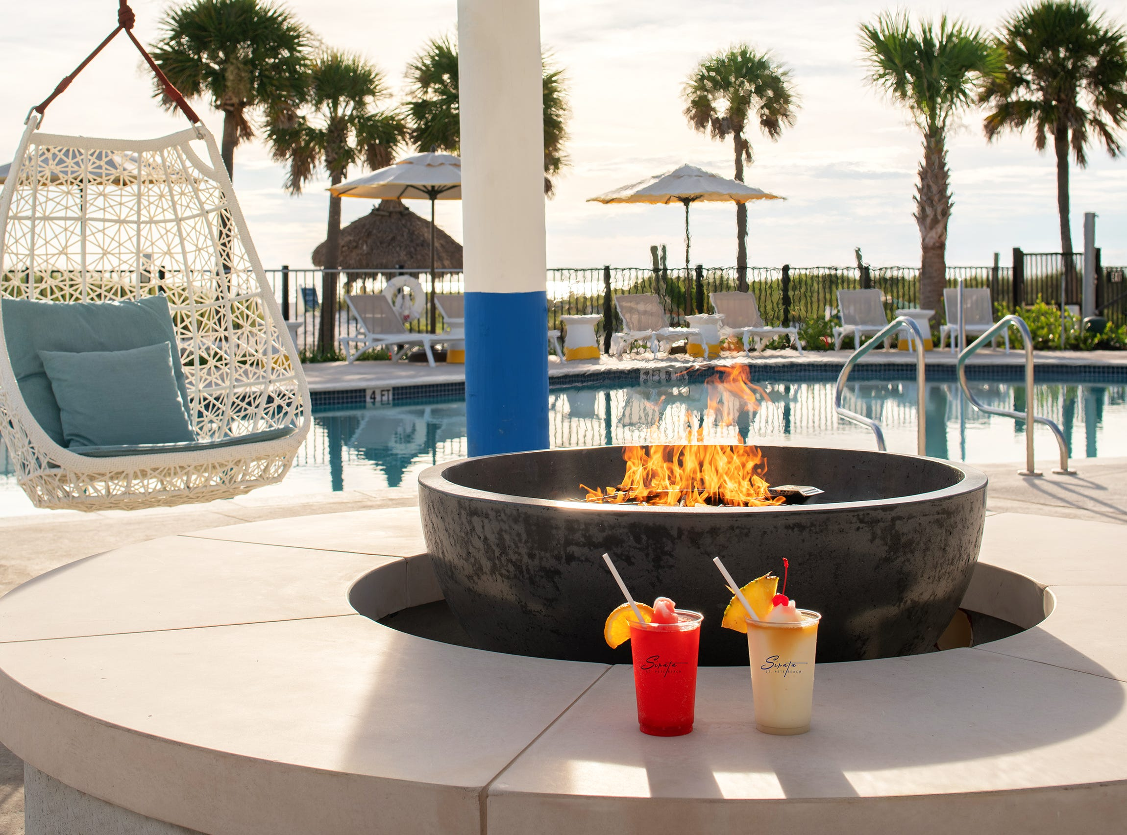 Sirata Beach Resort in St. Pete, Florida, has a new fire pit by the north pool.