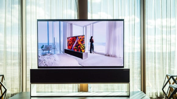 LG R9 rollable OLED TV