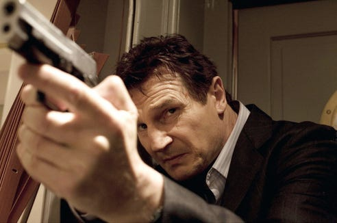 "Liam Neeson's action hero has a ""very particular set of skills"" in ""Taken."""