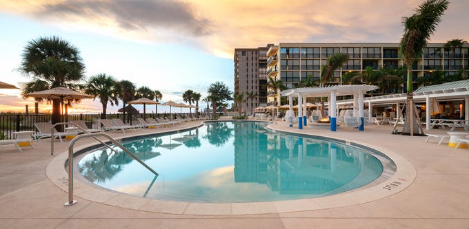 Sirata Beach resort in St. Pete Beach, Florida, has just completed a $15 million renovation. The resort in St. Petersburg has a a new south pool area with cabanas and sun loungers.