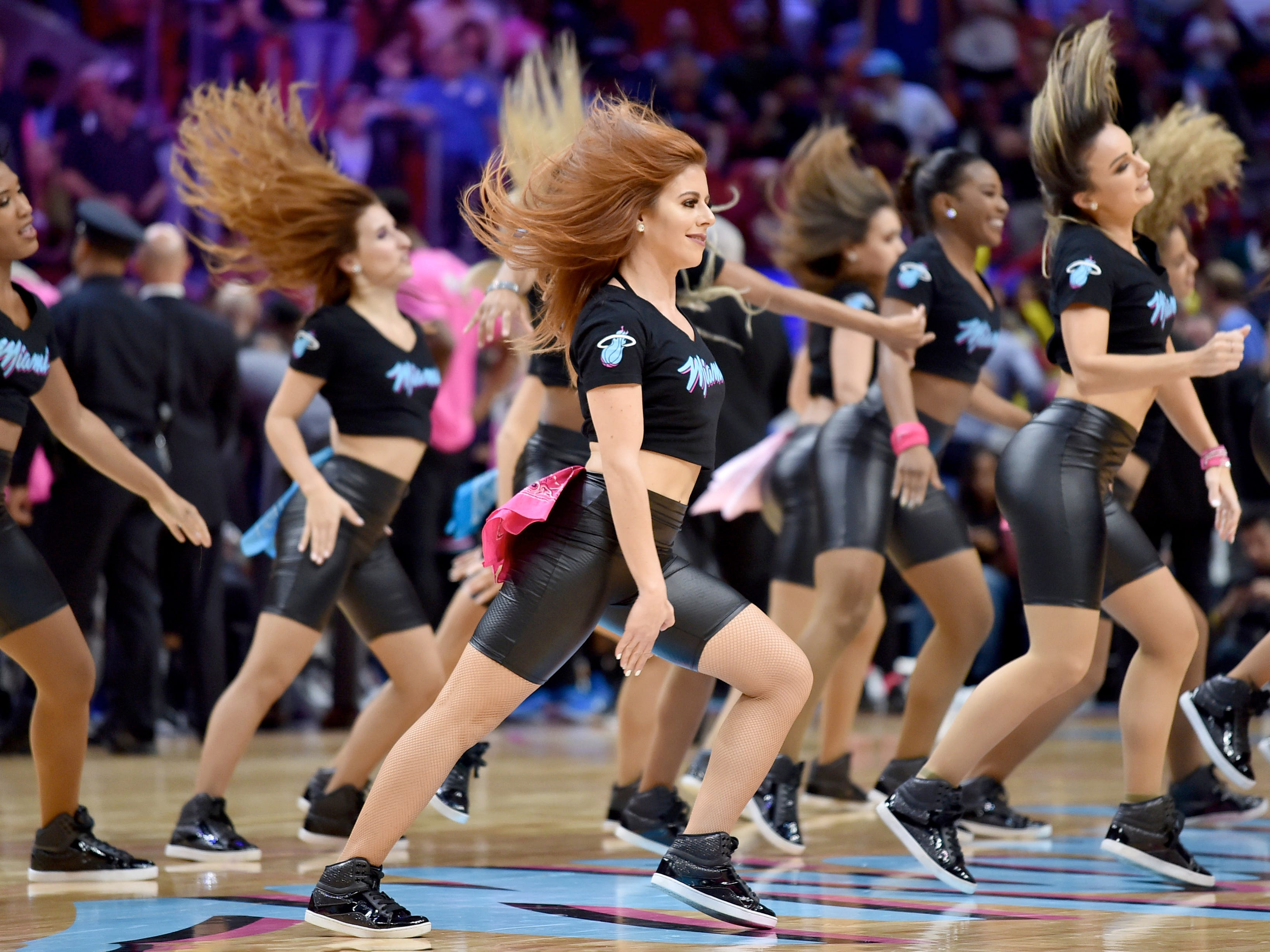 Jan. 8: Miami Heat dancers perform during the second half against the Denver Nuggets at American Airlines Arena.