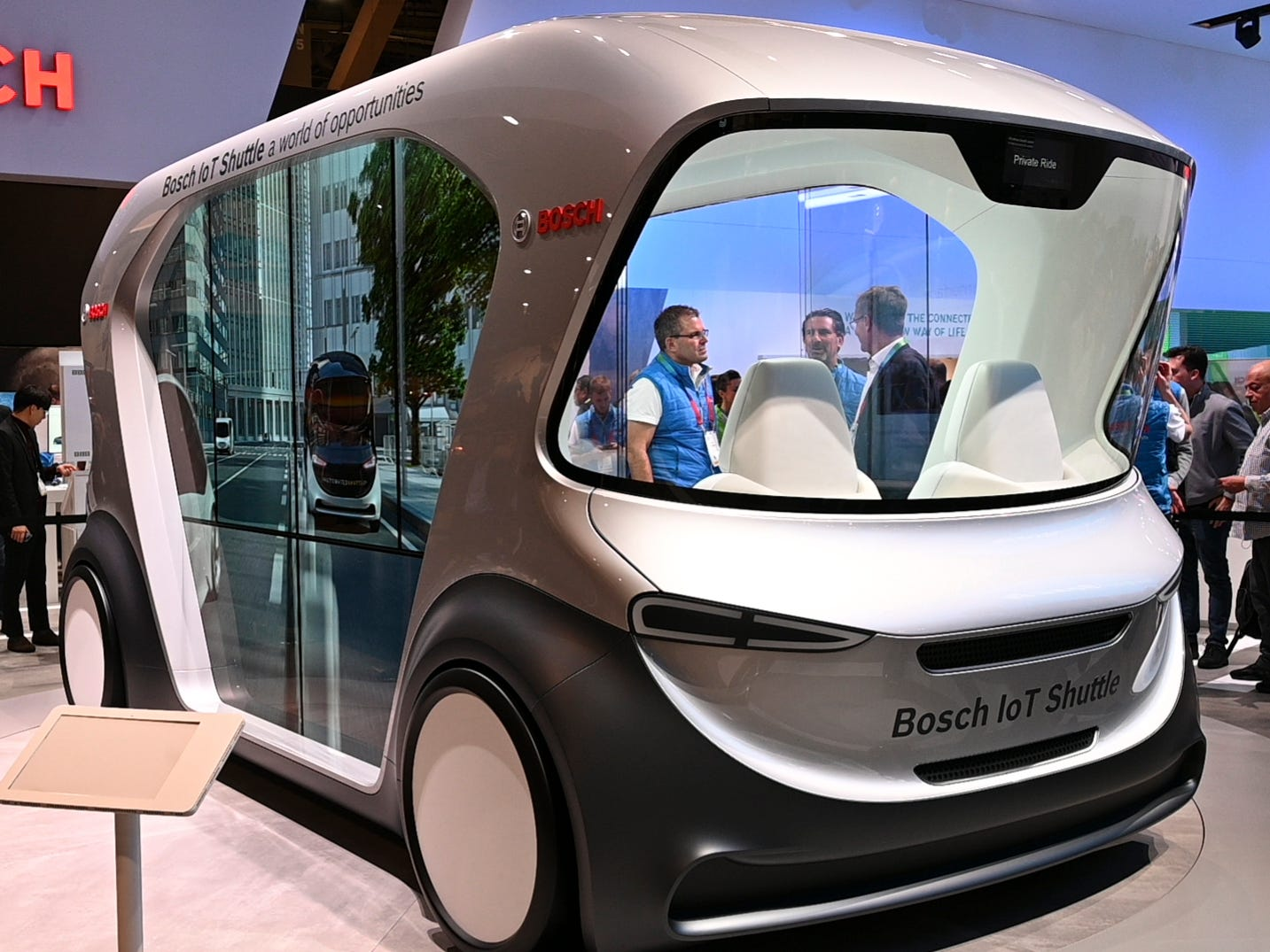 Bosch showed off a concept vehicle, the IoT Shuttle.