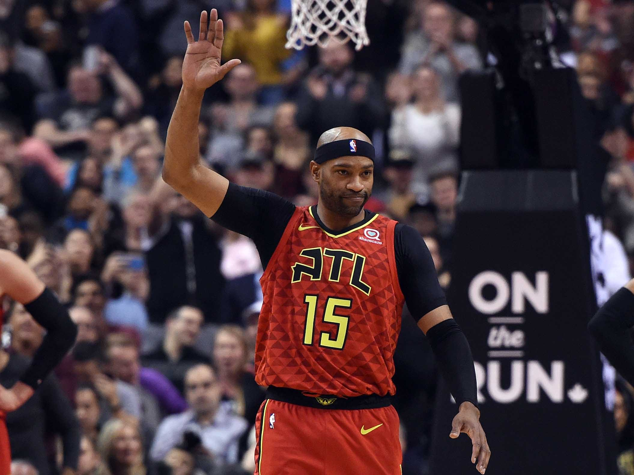 Jan. 8:  Current Hawks and former Raptors forward Vince Carter gets a stading ovation from the Toronto crowd as he enters the game at Scotiabank Arena.