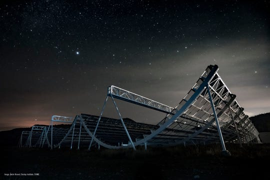 The CHIME telescope at night in British Columbia. The telescope will help detect future fast radio bursts.