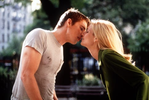 "Ethan Hawke and Gwyneth Paltrow share a kiss in Alfonso Cuaron's 1998 ""Great Expectations."""