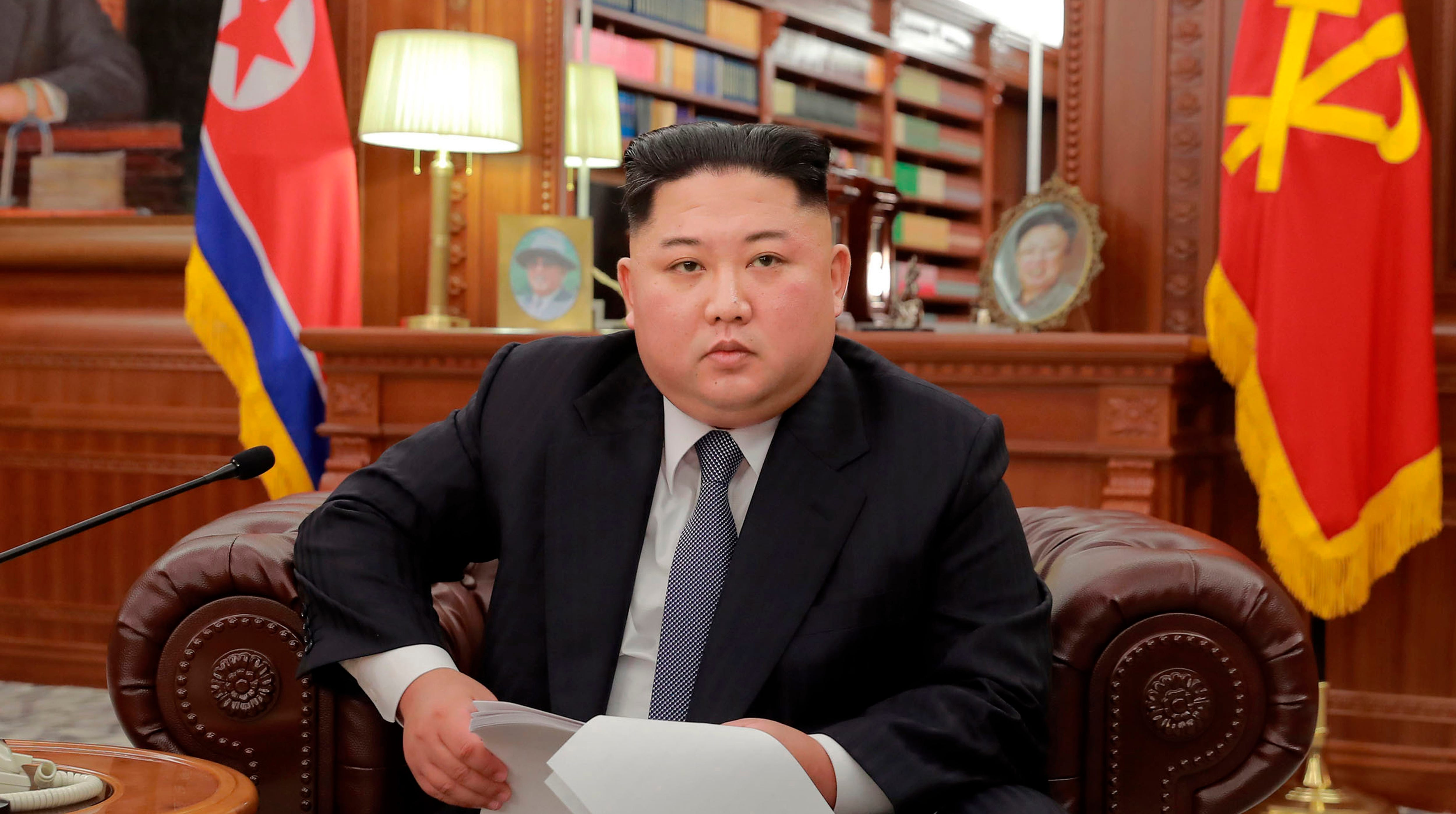 In this file photo released on Jan. 1, 2019, North Korean leader Kim Jong Un delivers a New Year's speech in North Korea.