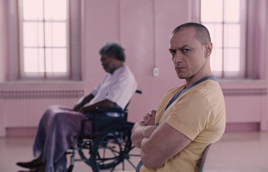 """Samuel L. Jackson as Elijah Price/Mr. Glass and James McAvoy as Kevin Wendell Crumb/The Horde in """"Glass."""""""