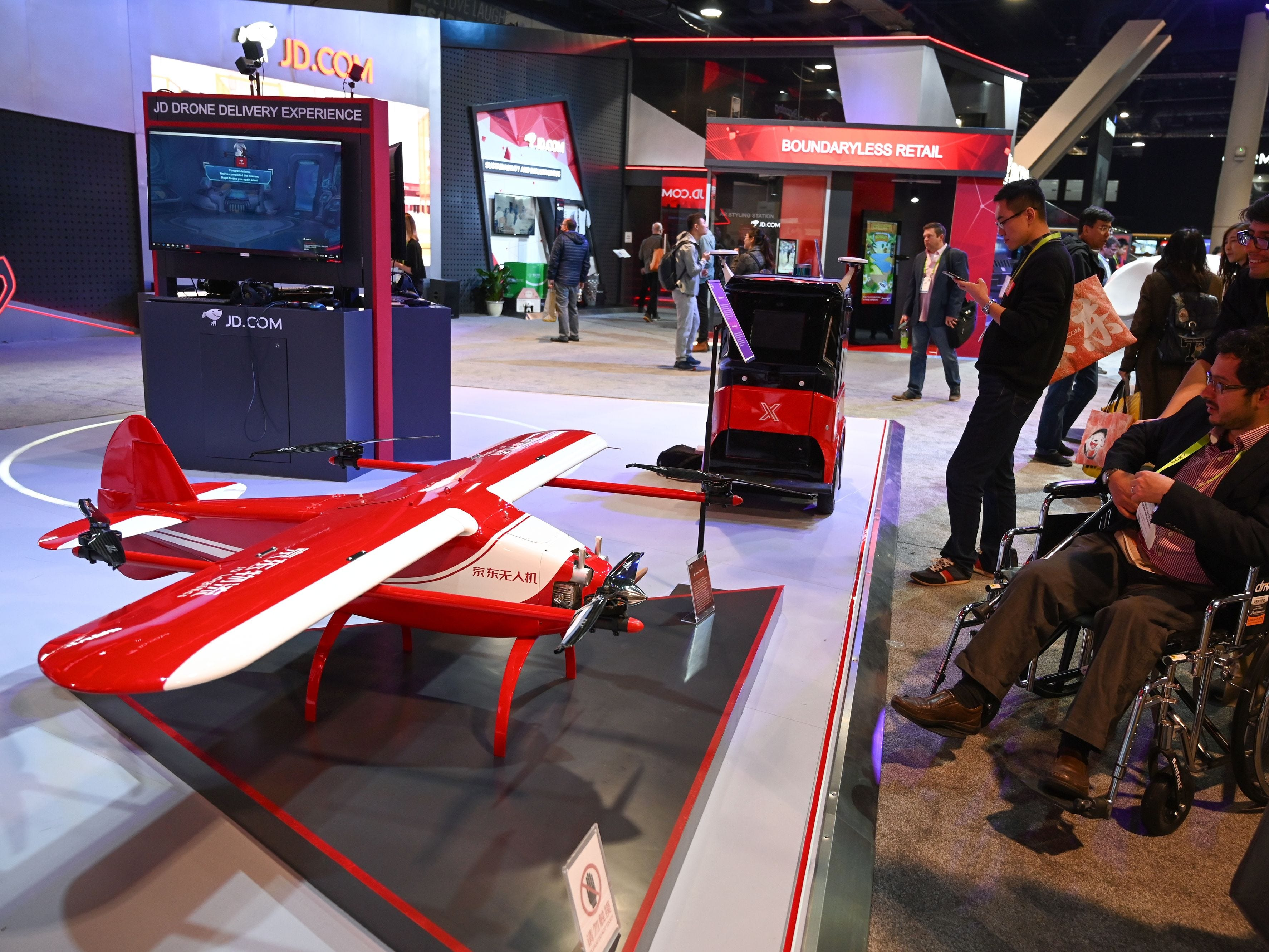 Chinese online retail and logistics company JD displays it's fixed wing delivery drone.
