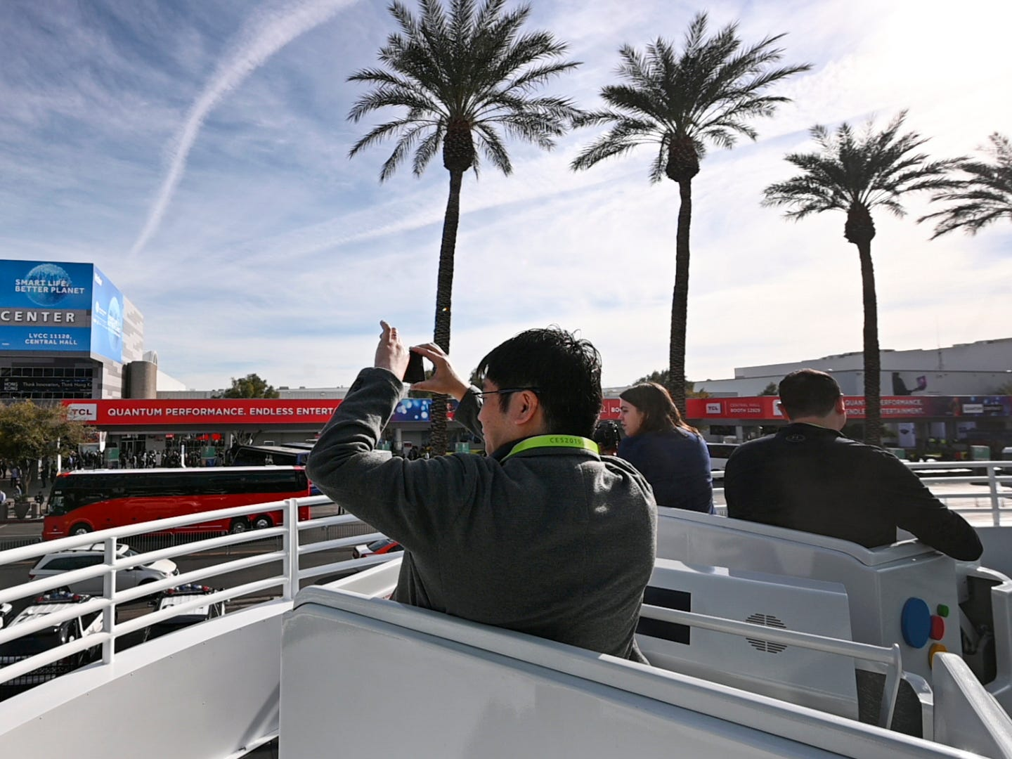 Riders on a Disneyesque roller coaster ride at Google's stand alone display get a good view of the Las Vegas Convention Center.