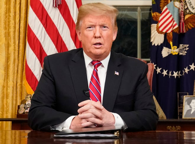 President Donald Trump is pictured delivering an address from the Oval Office about border security on Tuesday.