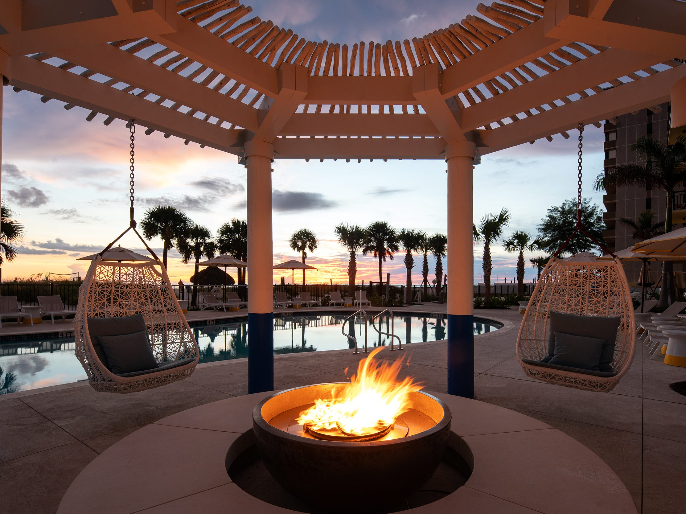 Sirata Beach Resort in St. Pete Beach, Florida, has new fire pits by the north pool.