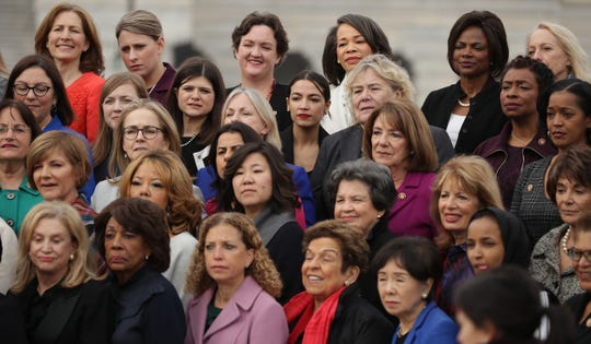 House Democratic women pose for a portrait in front of the U.S. Capitol January 04, 2019 in Washington, DC.
