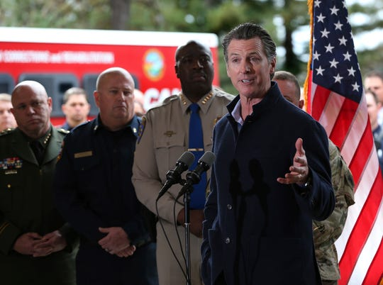 Gov. Gavin Newsom discusses emergency preparedness during a visit to the California Department of Forestry and Fire Protection's Colfax Station on Tuesday.