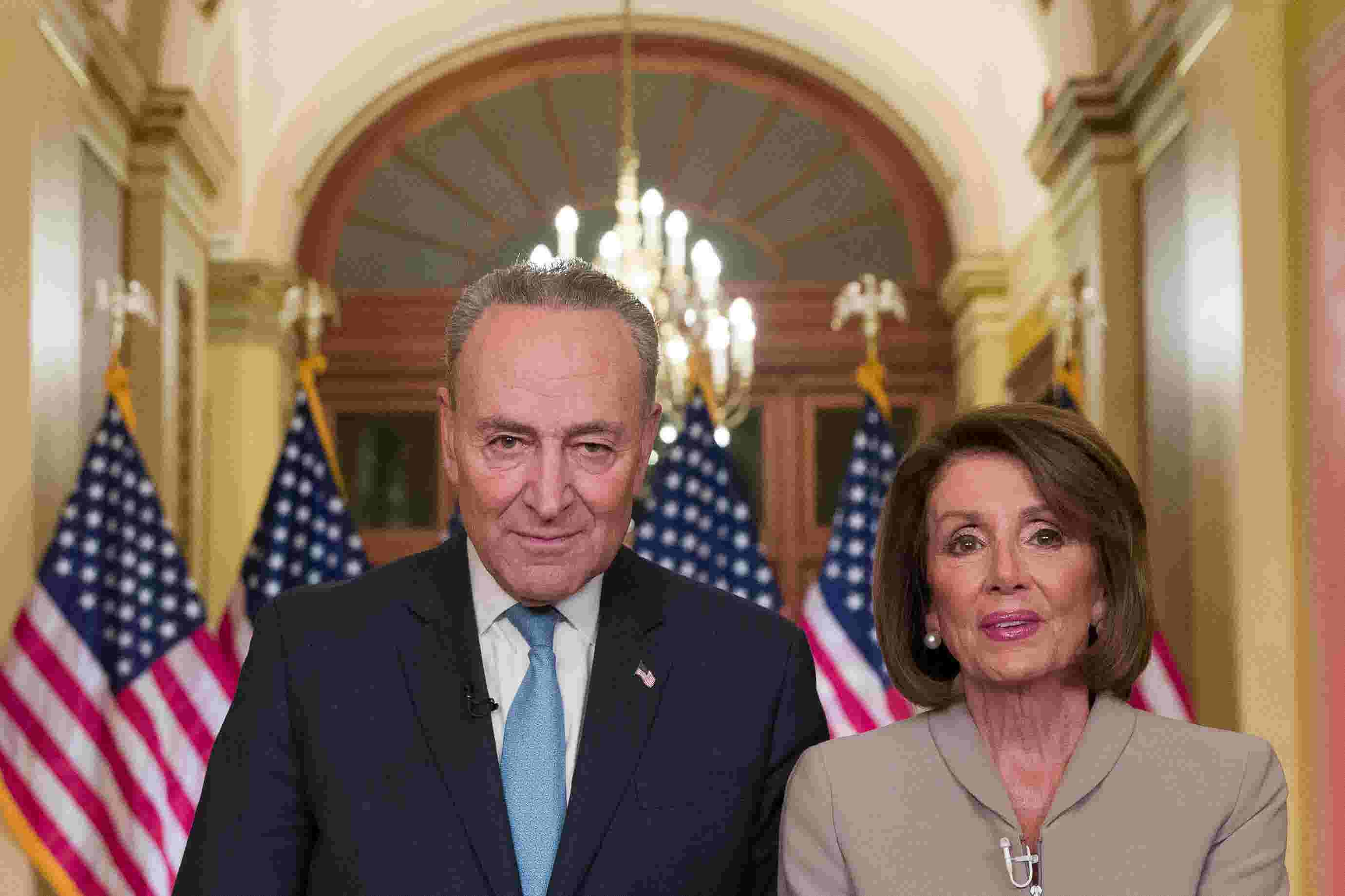 Trump Speech Twitter Jokes About Schumer Pelosi American Gothic Vibe