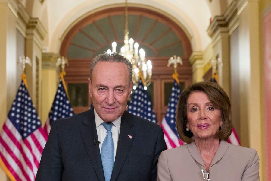 Senate Minority Leader Chuck Schumer of N.Y., and House Speaker Nancy Pelosi of Calif.